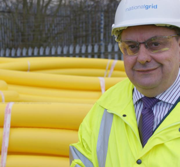 Stephen Murray with some of the new gas main to be laid in Parkgate