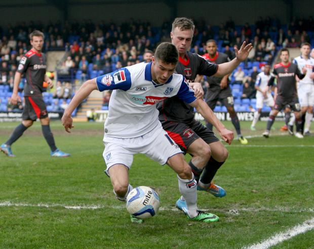 Jake Kirby in action for Tranmere.