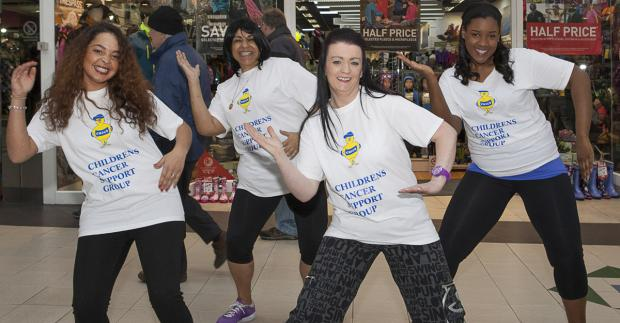 Wirral Globe: Sarah Hastie (front right) prepares for zumbathon with Rugaia Shakeshaft, Sharon Ovien and Kesiena Ovien.
