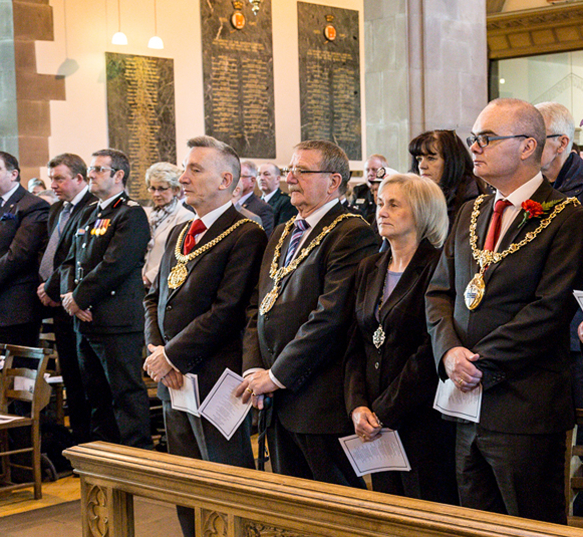 Wirral mayor David Mitchell among those at the 40th anniversary service. Picture: Tony Thomas