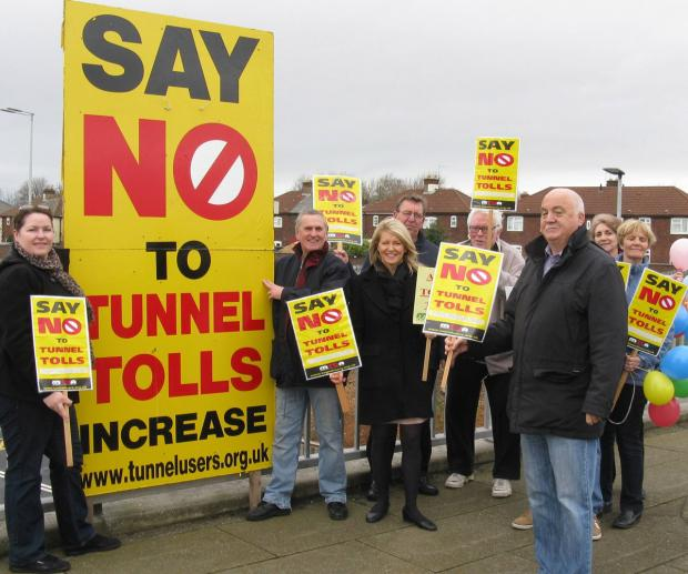 Tunnel toll protestors with Wirral West MP Esther McVey on Sunday.