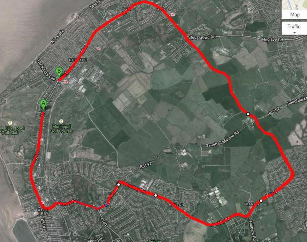 Wirral Globe: The recommended diversion route - approximately 7.2 miles long.