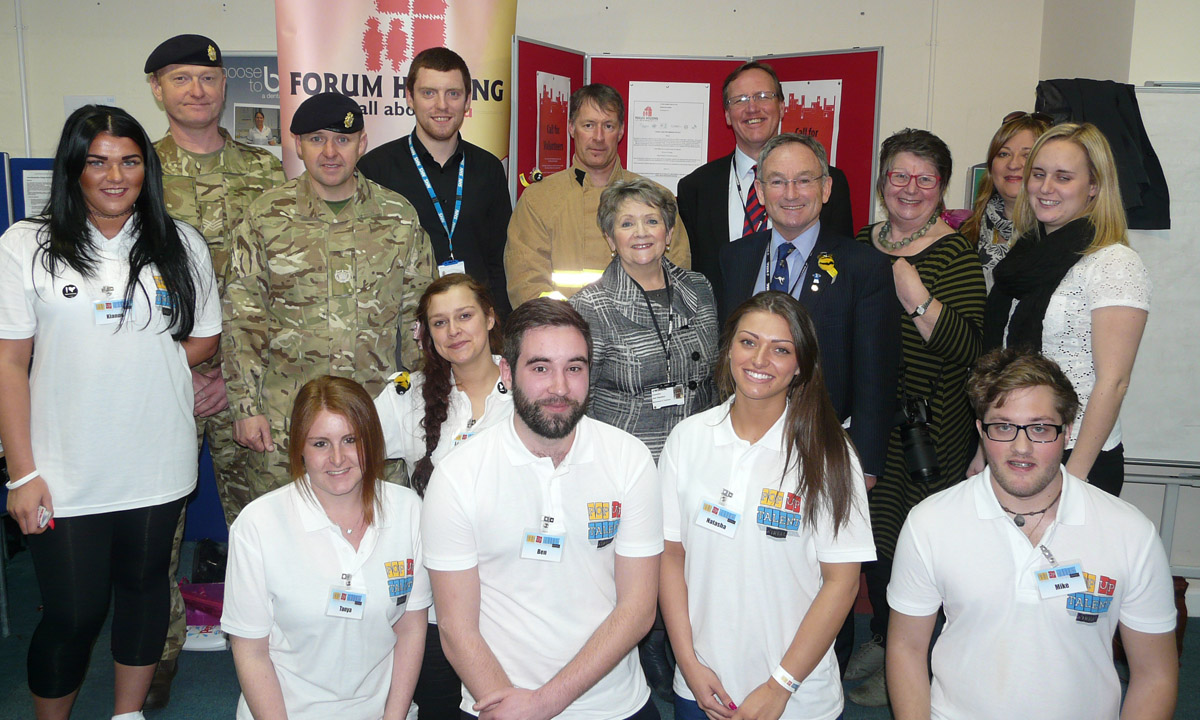 Young people with potential employers and council leader Phil Davies