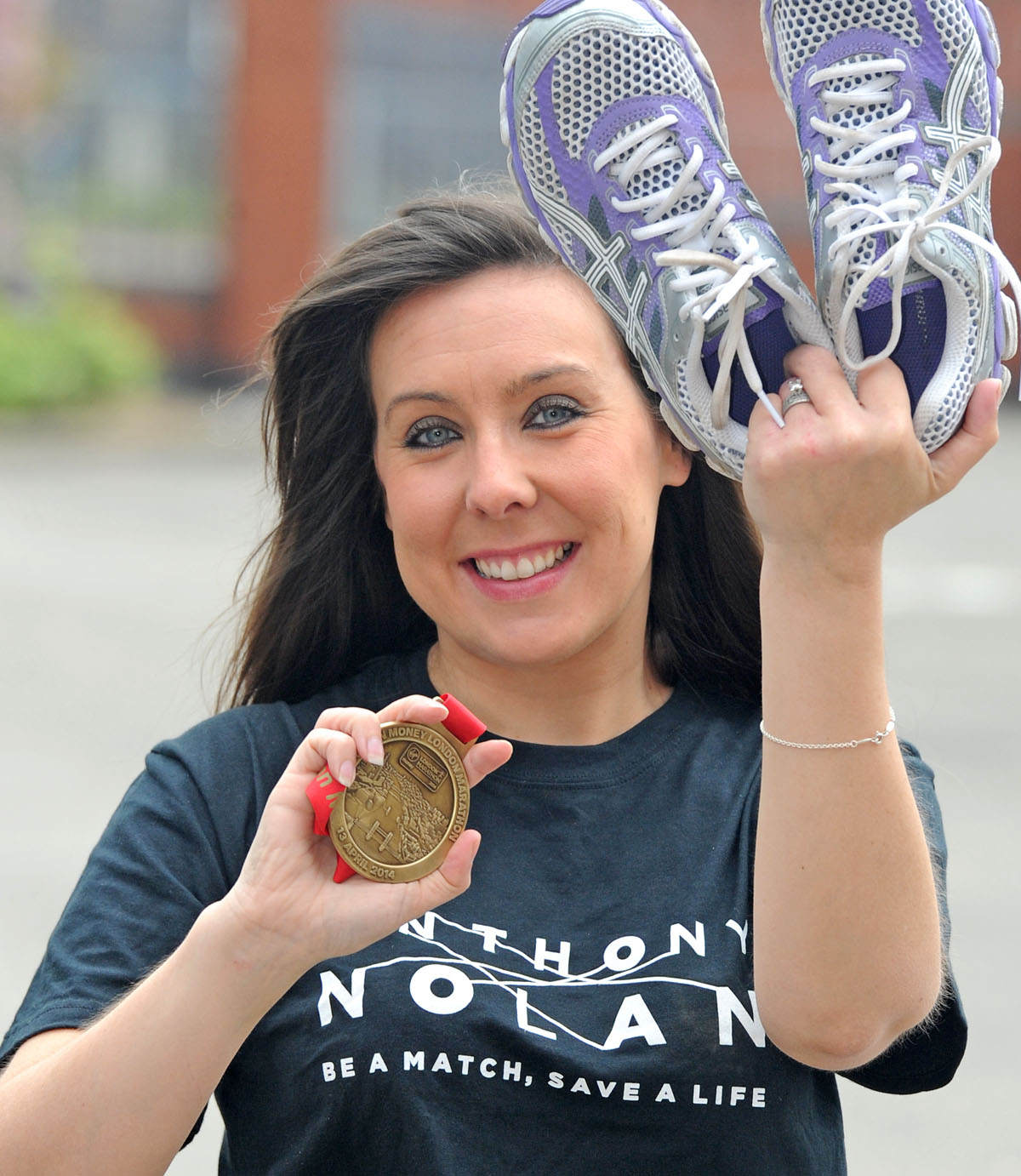 Vicky Thomas with her marathon medal.