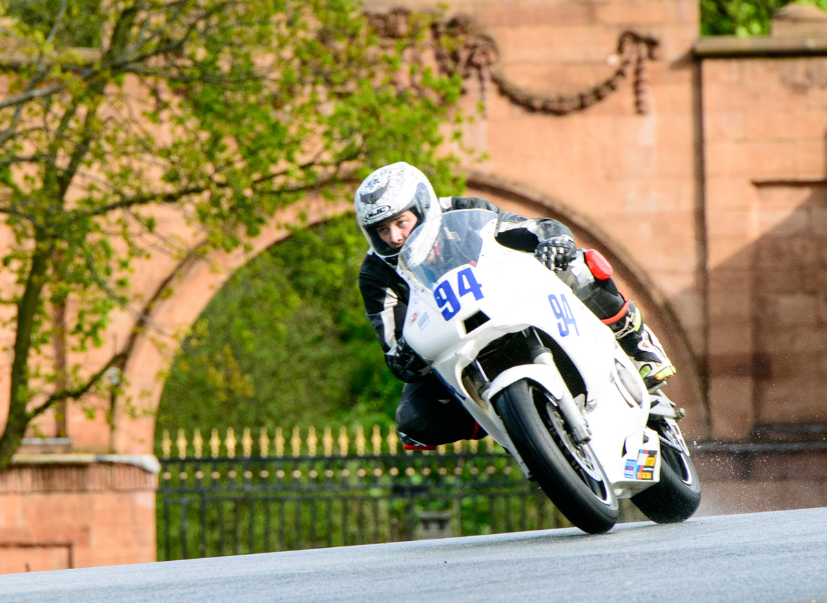 Andrew Jackson, from Greasby, on his 600cc Yamaha at Oulton Park in the pre-injection race. Picture: Mike Lyne