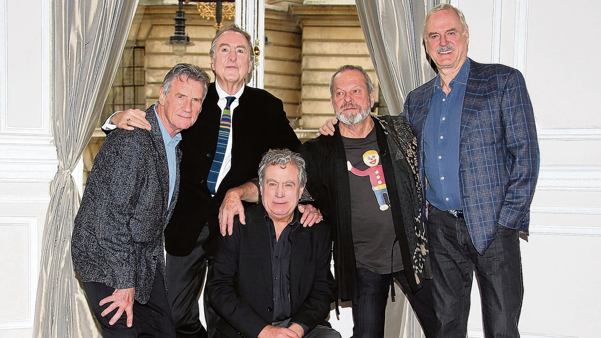 The Monty Python team: Left to right Michael Palin, Eric Idle, Terry Jones, Terry Gilliam and John Cleese
