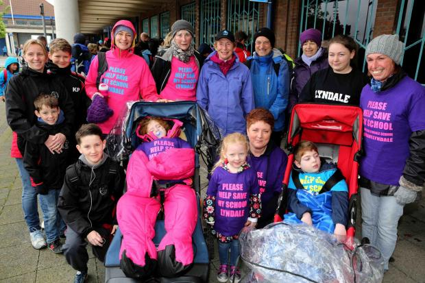 Lyndale parents, pictured at this year's Wirral Coastal Walk, do not want the school to close.