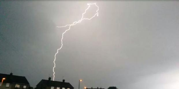 Lightning strikes over Leasowe last month. Picture: Aaron Ieuan Sloan.