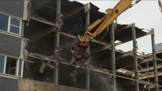 Demolition continues to make way for Premier Inn hotel in Birkenhead.