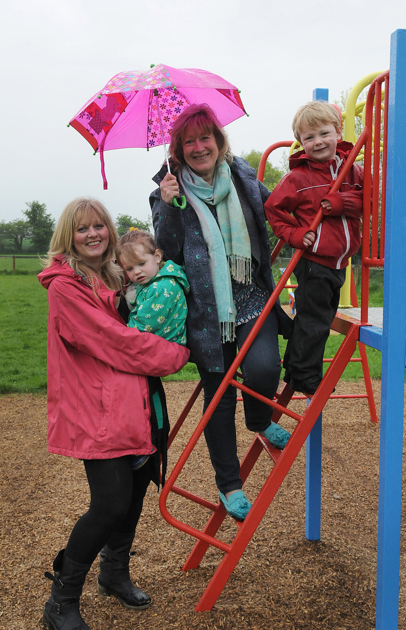 Councillor Kay Loch with Hayley Price and children Miles and Verity