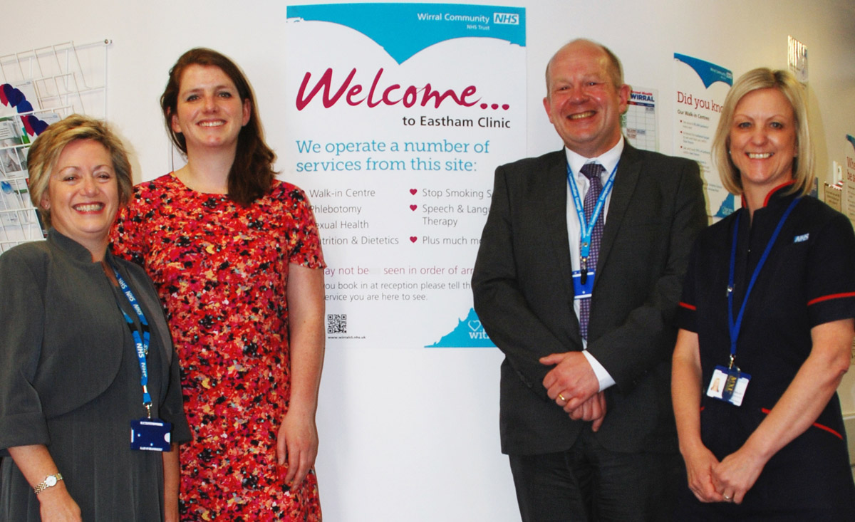 Nurse consultant Judith Roberts, Alison McGovern MP, operations director John Lancaster and Community Nurse Jane Ralley