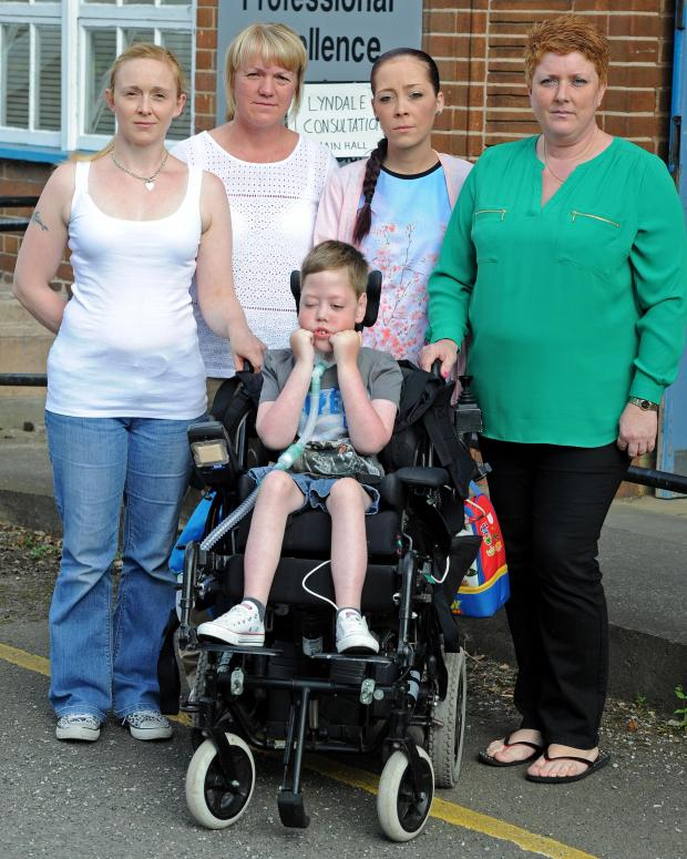 Wirral Globe: Lyndale parents Chrissie Woodland, Shelley Standen, Chantelle Smith, Maureen Fearon and seven-year-old Scott Howell.
