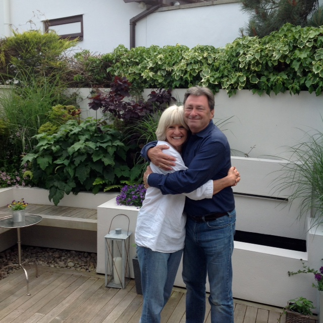Alan Titchmarsh and Caldy resident Angie Murphy, whose garden he visited.