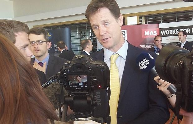 Wirral Globe: Deputy Prime Minister Nick Clegg meets the media at Floral Pavilion this afternoon. Picture: Craig Manning