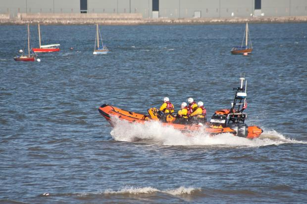 RNLI New Brighton lifeboat on its way to the rescue