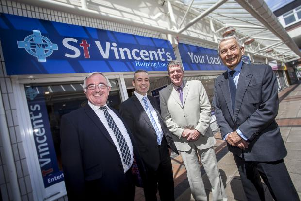 Wirral Globe: Matt Campbell, SVP director of communities project, Derek Millar, commercial director for Pyramids Shopping Centre, David Foster, SVP locality manager and Frank Field MP