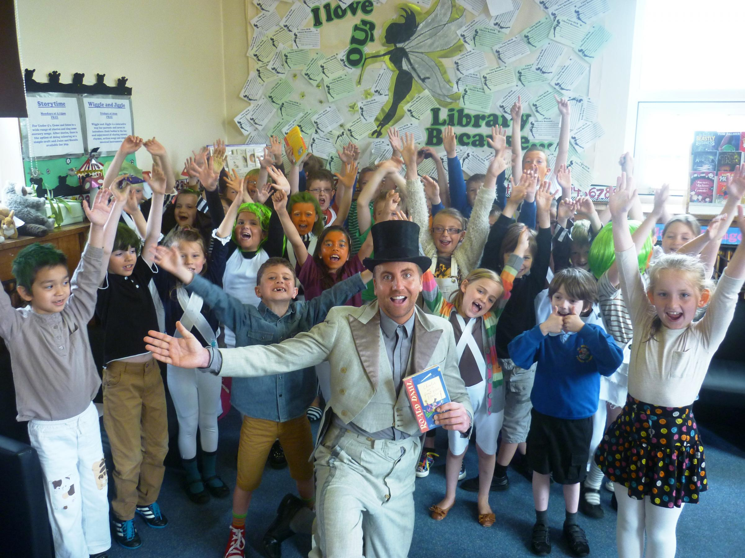 Children from St George's Primary School in Wallasey celebrate Roald Dahl day.