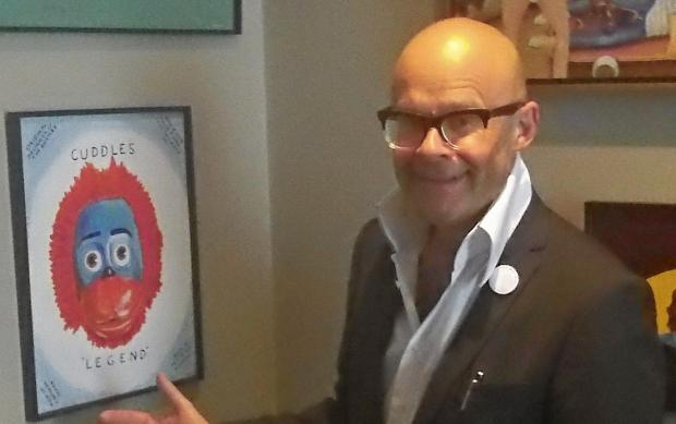 Wirral Globe: Harry Hill with some of his work before Thursday's unveiling. Picture: Craig Manning