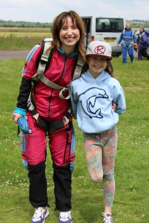 Angela Hesketh with daughter Daisy after the skydive