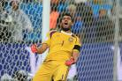 Argentina goalkeeper Sergio Romero celebrates victory in the penalty shoot-out during the FIFA World Cup Semi Final at the Arena de Sao Paulo, Sao Paulo, Brazil