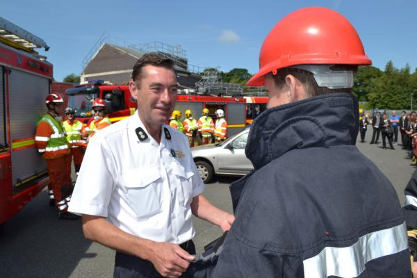 Watch manager John Cousins talks to pupil from Ridgeway High School. Picture: MF&RS