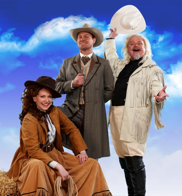 Emma Williams, Jason Donovan and Norman Pace in Annie Get Your Gun.