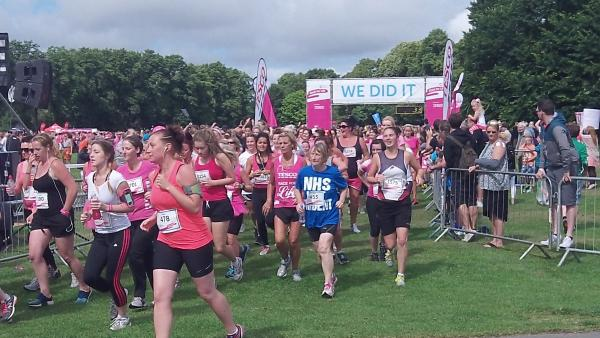 The runners set off on today's Wirral Race For Life. Picture: Craig Manning