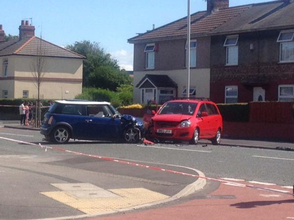 PICS ADDED: Three treated for injuries after cars crash in Birkenhead