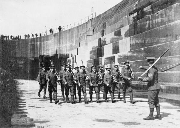 A photograph of soldiers undergoing drill in Laird's No 6 Dock in August 1914 - it will form part of the council's exhibition.