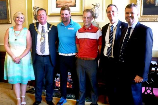 from left to right, The Mayor and Mayoress, Cllr Steve Foulkes and Miss Elaine Nolan, John Singleton, George Nicholson, Cllr Phil Davies, Leader of Wirral Council, and Nick Peel, chairman of championship committee at Royal Liverpool Golf Club, Hoylake.