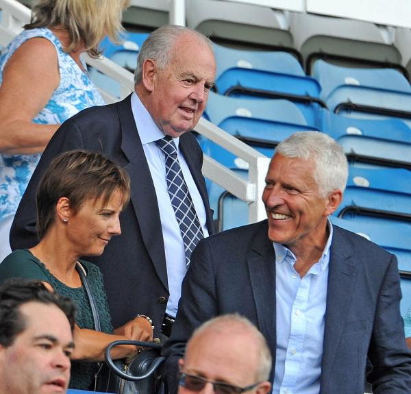 New owners for Tranmere Rovers as Mark and Nicola Palios, with former owner Peter Johnson looking on.
