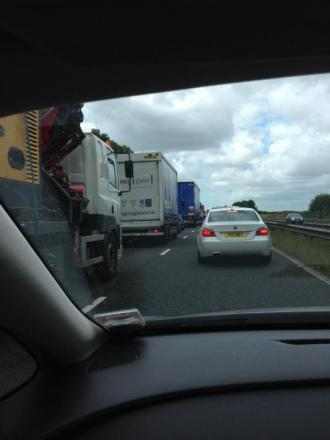 Traffic at a standstill on the M56