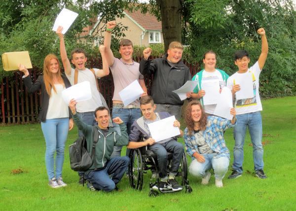 Students at Bebington High Sports College Sixth Form celebrate their results