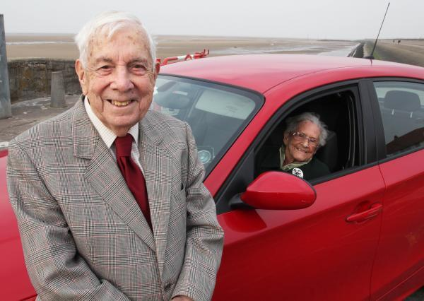 Ken and Edna Medlock during filming of 100-year-old drivers. Picture: RDF