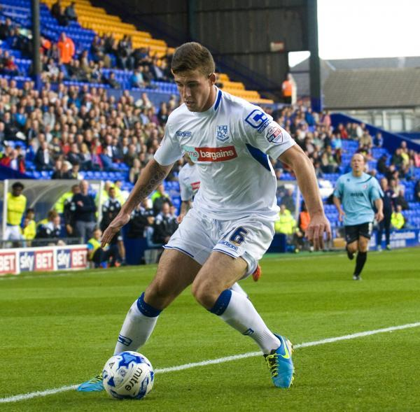 Cole Stockton in action during Saturday's match against Cheltenham at Prenton Park on Saturday. Picture: Geoff Davies