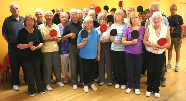 Members of West Kirby Concourse over-50s table tennis club