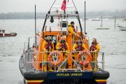 Hoylake RNLI lifeboat crew leave the charity's headquarters in Poole on board their new Shannon class lifeboat. Picture: RNLI/Nathan Williams.