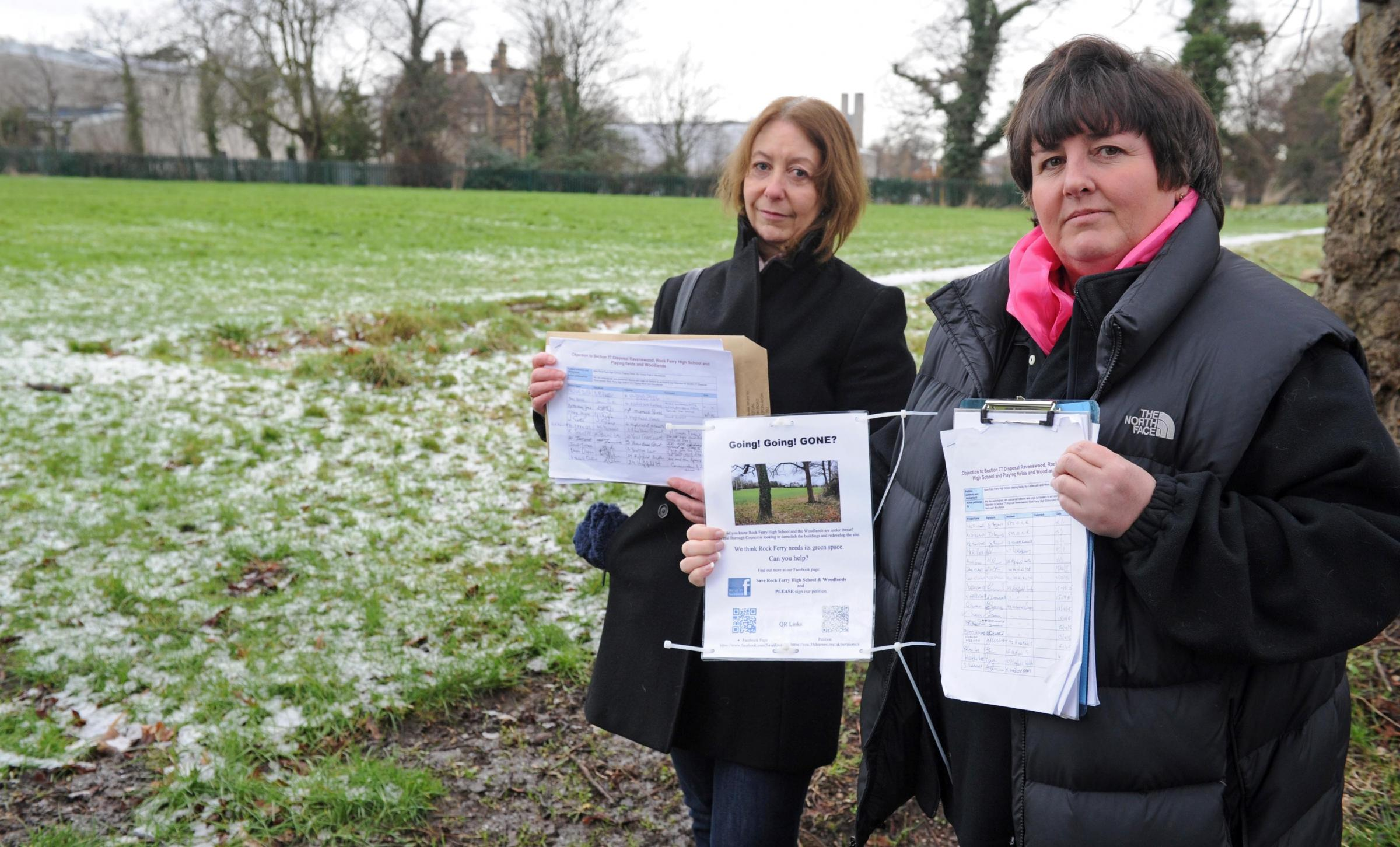 Campaigners Sue Dodd and Alison Meehan at the former Rock Ferry High School site. Picture: Paul Heaps.