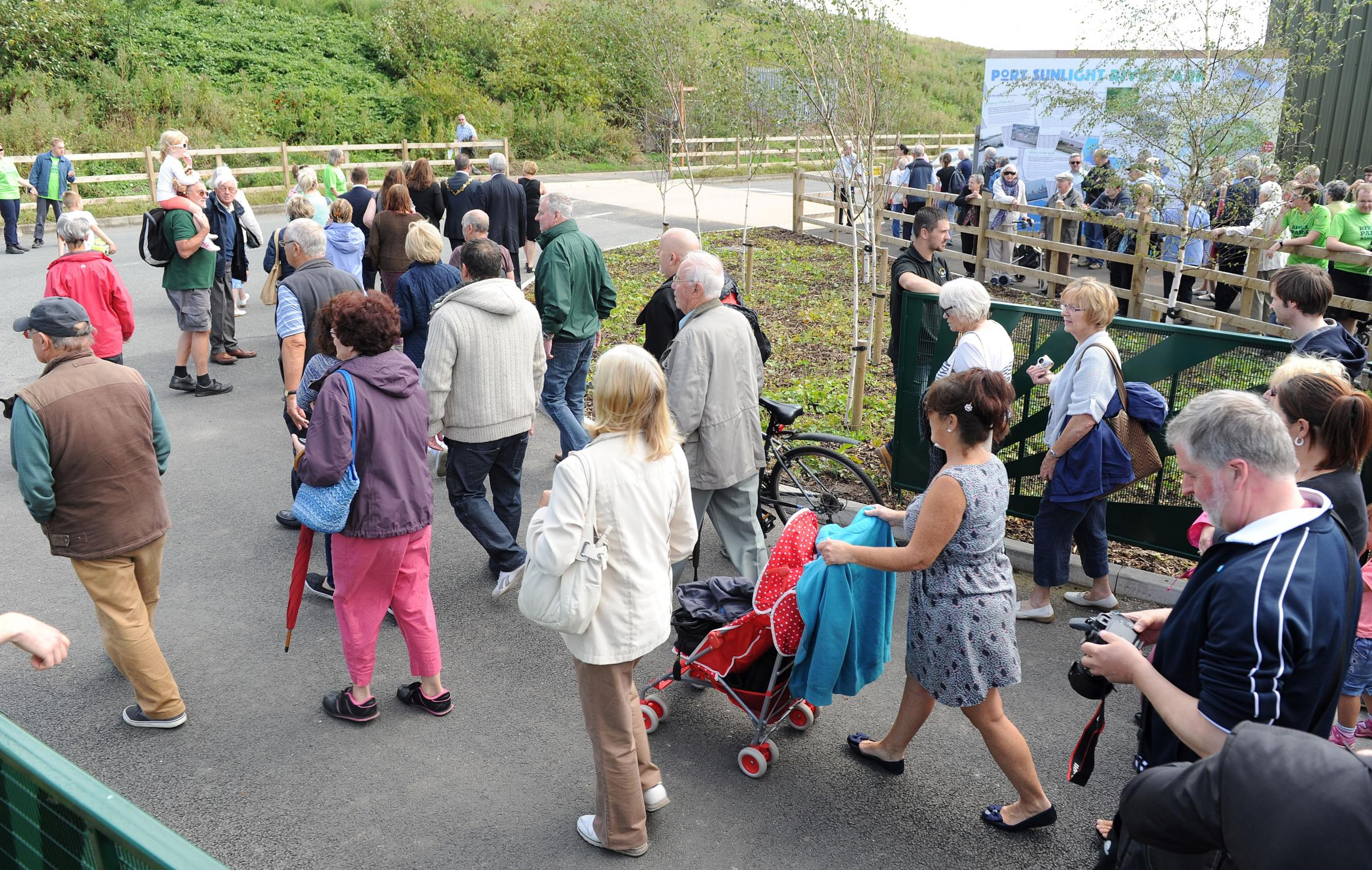 Visitors during opening of Port Sunlight River Park last year. Picture: Paul Heaps