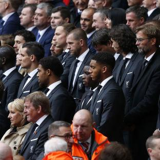 Wirral Globe: Liverpool manager Jurgen Klopp (top, second from right) and former Liverpool manager Kenny Dalglish (bottom) amongst current Liverpool players during the last memorial service to be held at Anfield