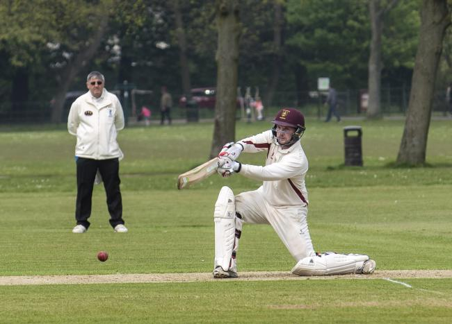 Birkenhead Park's Chris Davies top-scored with 57 of 176 balls before falling to a catch. Picture: Geoff Davies