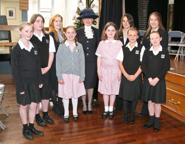 HONOUR: Judith Greensmith with pupils