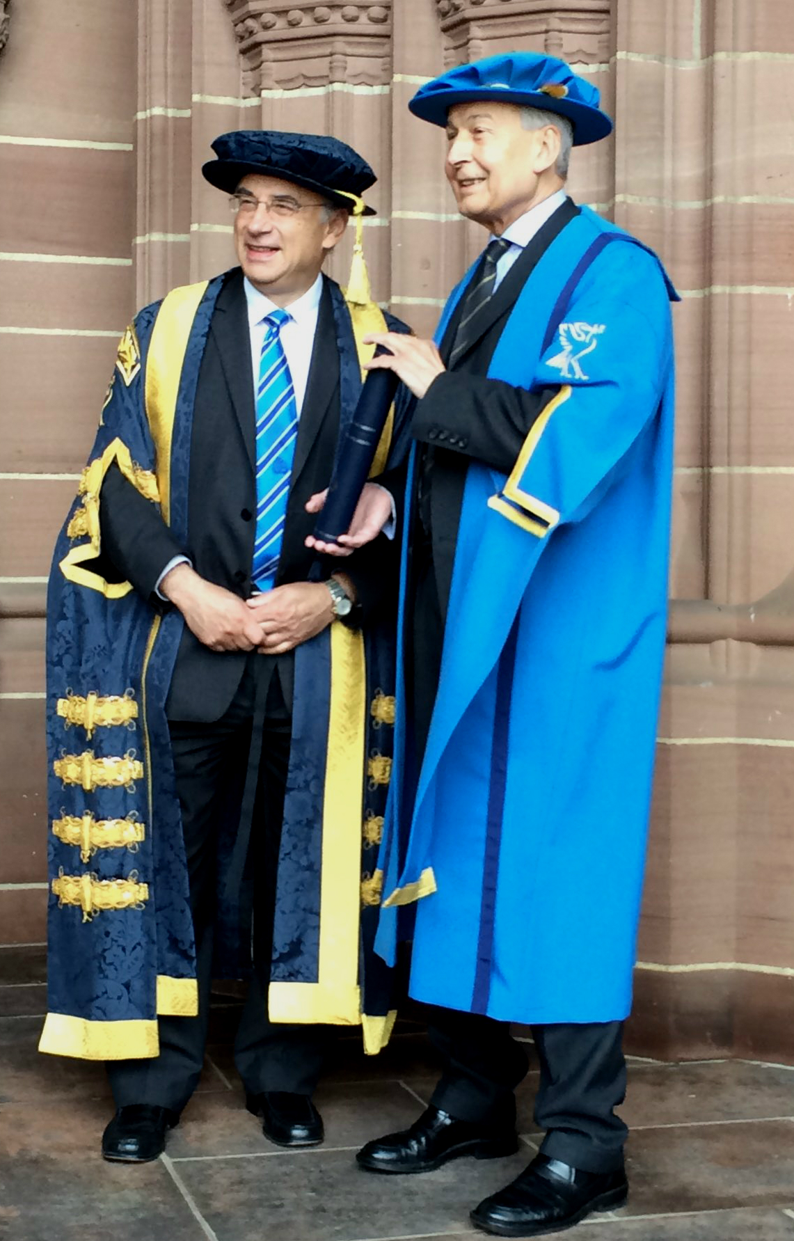 Birkenhead MP Frank Field is pictured with Sir Brian Leveson  who is Chancellor of Liverpool John Moores University