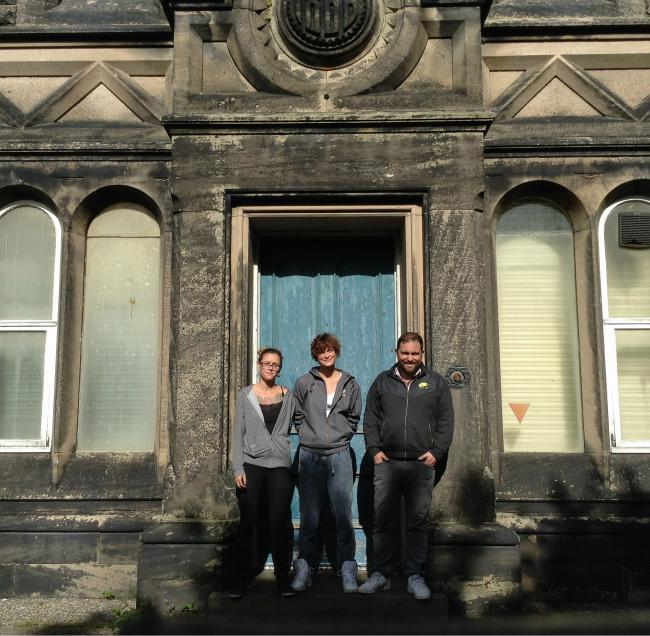 Kim Ward, Fiona Jones and Edward Clive on the doorstep of Bidston Observatory. All pictures by Lauren Jones