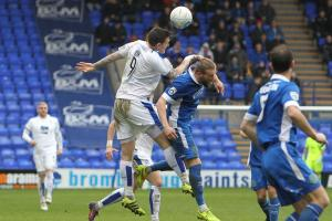 Tranmere striker Andy Cook on the attack on Saturday. Picture: Richard Ault