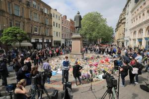 Floral tributes in St Ann's Square, close to the Manchester Arena