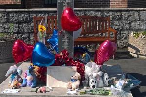 The memorial for people affected by the Manchester attack in Moreton