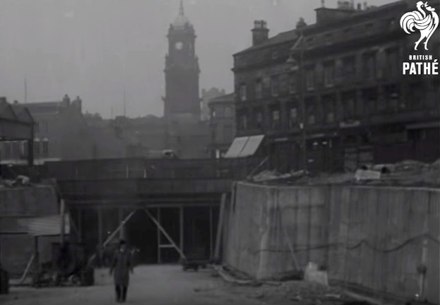 Still image taken from the footage from British Path showing Birkenhead Town Hall and the entrance to the Queensway Tunnel