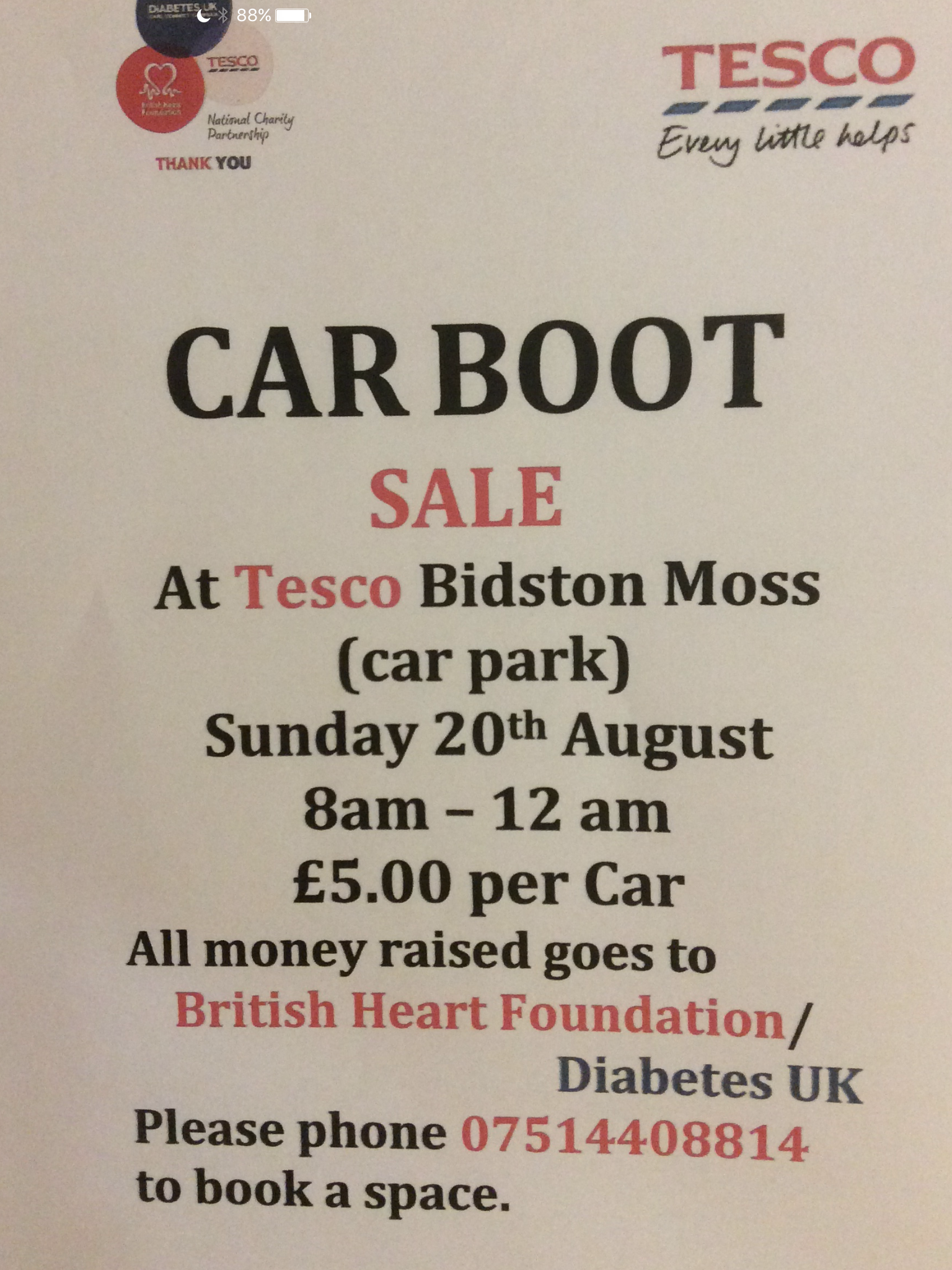 Tesco Bidstonmoss carboot