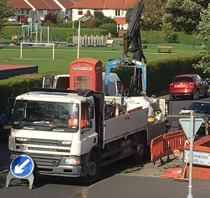 The famous telephone kiosk being removed from its home in Greenwood Road, Meols, back in August
